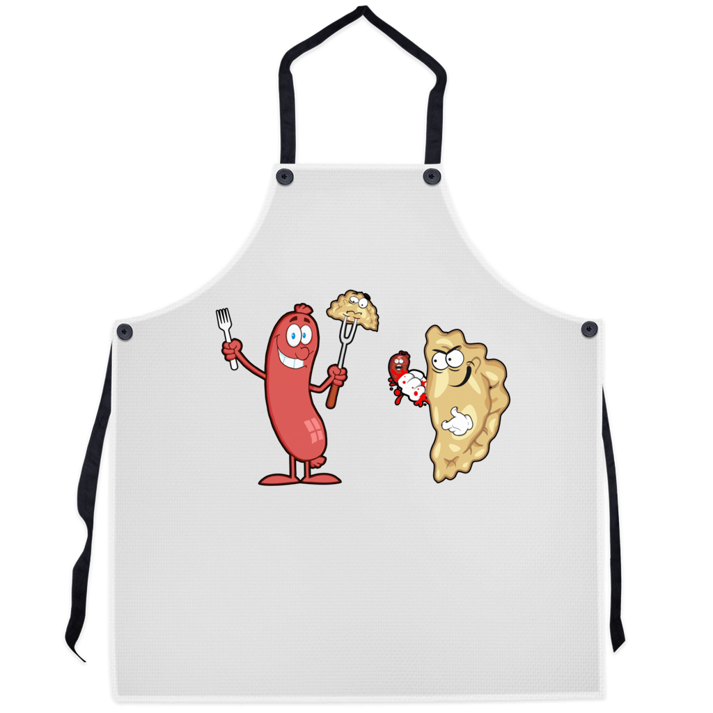 Pierogi Vs Kielbasa Premium Kitchen Apron - 29.5x32 inch - Polish Shirt Store