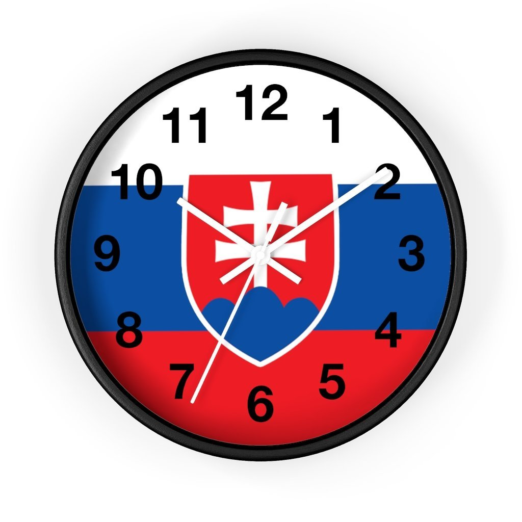 Slovakia Coat Of Arms Wall Clock - 10 in / Black / White - Polish Shirt Store