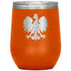 Polish Eagle Insulated Wine Tumbler With Lid - Orange - Polish Shirt Store