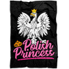 "Polish Princess Black Fleece Blanket - Small Fleece Blanket (40""x30"") - Polish Shirt Store"
