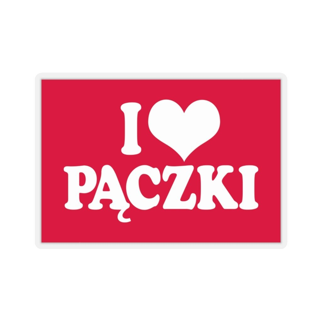 "I Love Paczki Die-Cut Sticker - 4x4"" / Transparent - Polish Shirt Store"