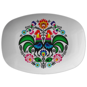Polish Wycinanki Rooster Design Serving Platter - Single Platter - Polish Shirt Store