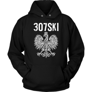 Wyoming - 307 Area Code - Polish Pride - Unisex Hoodie / Black / S - Polish Shirt Store