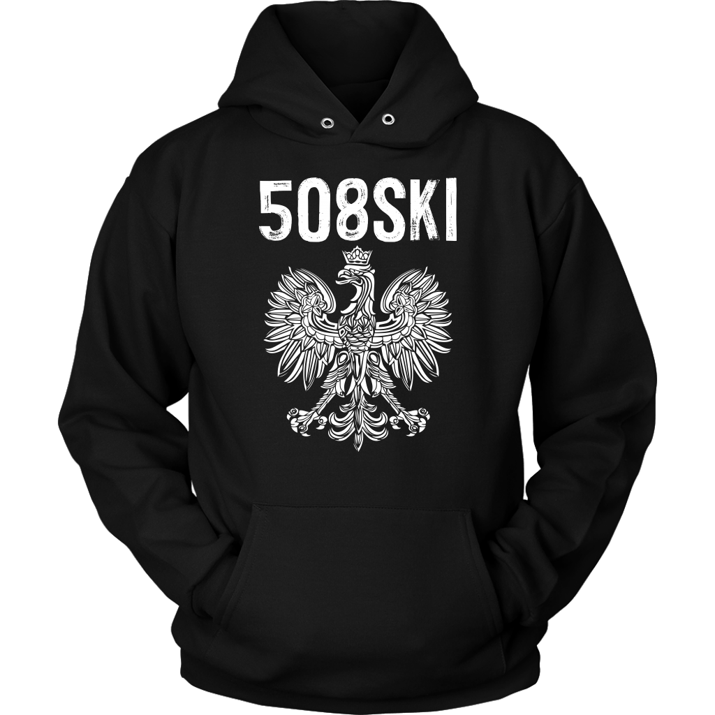 Worcester Massachusetts - 508 Area Code - Polish Pride - Unisex Hoodie / Black / S - Polish Shirt Store
