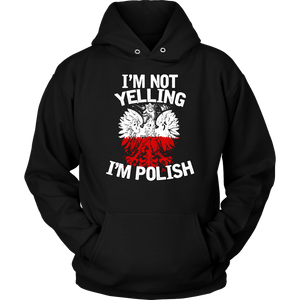 I'm Not Yelling I'm Polish T-Shirt - Unisex Hoodie / Black / S - Polish Shirt Store