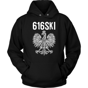 616SKI Grand Rapids Michigan Polish Pride - Unisex Hoodie / Black / S - Polish Shirt Store