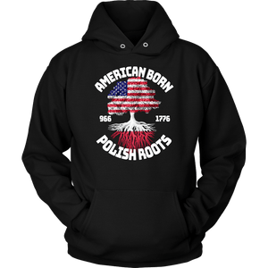 American Born With Polish Roots - Unisex Hoodie / Black / S - Polish Shirt Store