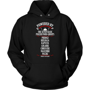 Powered By The Seven Polish Food Groups - Unisex Hoodie / Black / S - Polish Shirt Store
