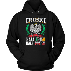 IRISKI Half Irish Half Polish - Unisex Hoodie / Black / S - Polish Shirt Store