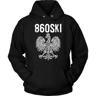 Hartford Connecticut - 860 Area Code - Polish Pride - Unisex Hoodie / Black / S - Polish Shirt Store