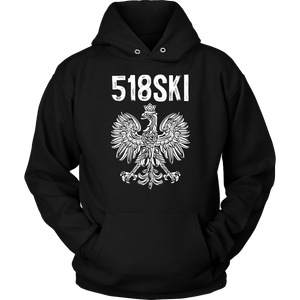 Albany New York - 518 Area Code - Polish Pride - Unisex Hoodie / Black / S - Polish Shirt Store