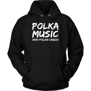 Polka Music Polish Cardio Mens - Unisex Hoodie / Black / S - Polish Shirt Store