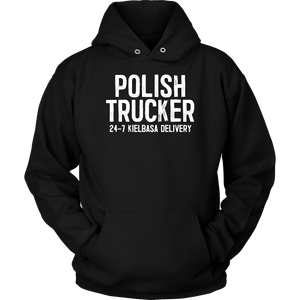 Polish Trucker 24-7 Kielbasa Delivery - Unisex Hoodie / Black / S - Polish Shirt Store
