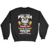 Official Member Of The Polish Drinking Team - Crewneck Sweatshirt / Black / S - Polish Shirt Store