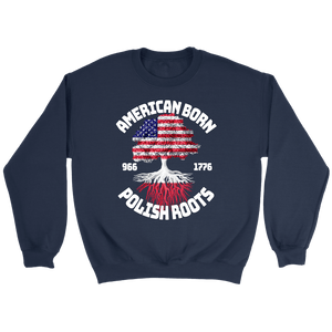 American Born With Polish Roots - Crewneck Sweatshirt / Navy / S - Polish Shirt Store