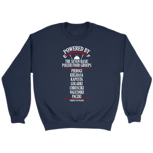 Powered By The Seven Polish Food Groups - Crewneck Sweatshirt / Navy / S - Polish Shirt Store