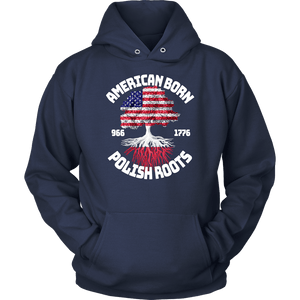American Born With Polish Roots - Unisex Hoodie / Navy / S - Polish Shirt Store