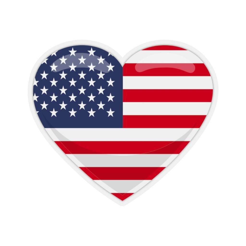 "American Flag Heart Shaped Kiss-Cut Stickers - 3x3"" / Transparent - Polish Shirt Store"