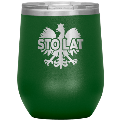 Sto Lat Polish Wine Tumbler - Green - Polish Shirt Store