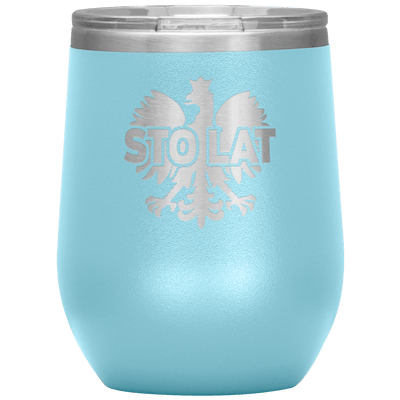 Sto Lat Polish Wine Tumbler - Light Blue - Polish Shirt Store