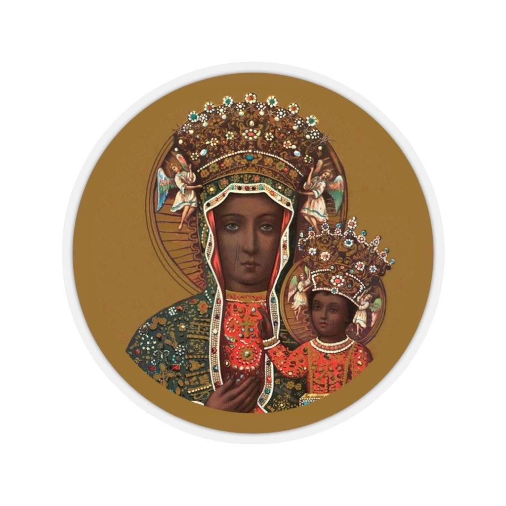 "Black Madonna of Czestochowa Circle Sticker - 6x6"" / Transparent - Polish Shirt Store"