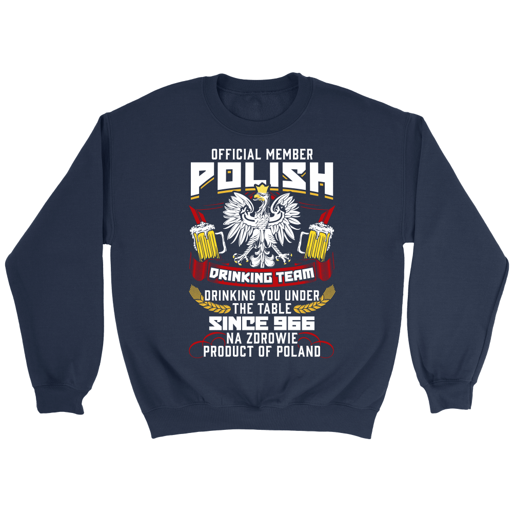 Official Member Of The Polish Drinking Team - Crewneck Sweatshirt / Navy / S - Polish Shirt Store
