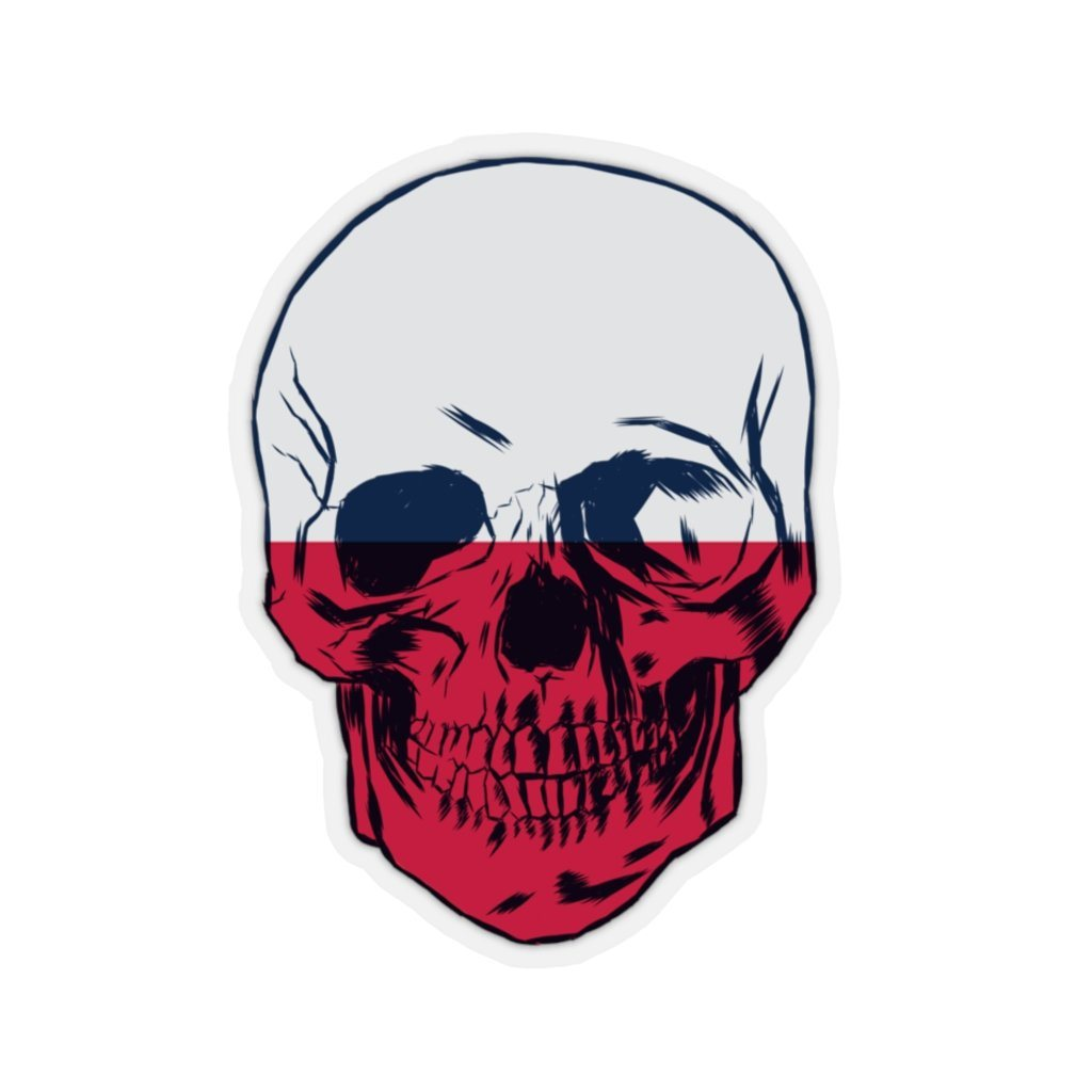 "Polish Flag Skull Sticker - 2x2"" / Transparent - Polish Shirt Store"