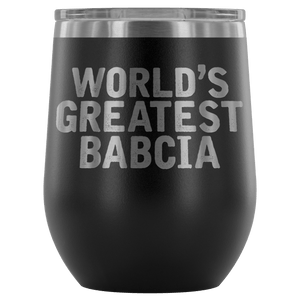 World's Greatest Babcia Wine Tumbler - Black - Polish Shirt Store