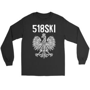 Albany New York - 518 Area Code - Polish Pride - Gildan Long Sleeve Tee / Black / S - Polish Shirt Store