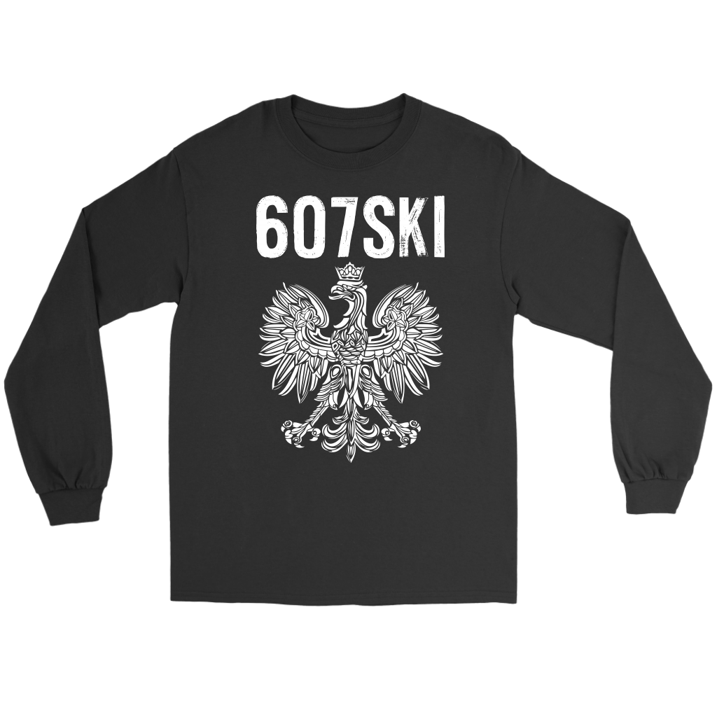 Binghamton NY - 607 Area Code - Polish Pride - Gildan Long Sleeve Tee / Black / S - Polish Shirt Store