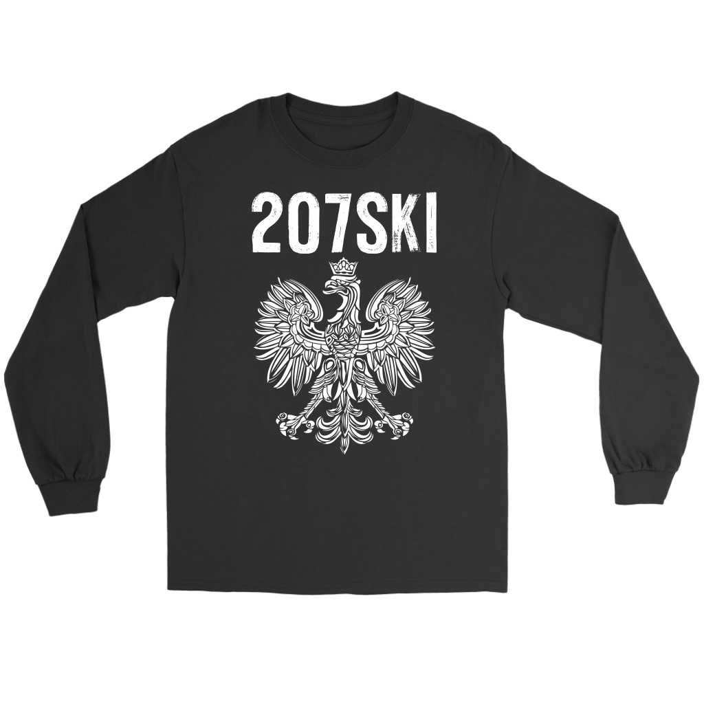 Maine - 207 Area Code - 207SKI - Gildan Long Sleeve Tee / Black / S - Polish Shirt Store