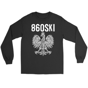 Hartford Connecticut - 860 Area Code - Polish Pride - Gildan Long Sleeve Tee / Black / S - Polish Shirt Store