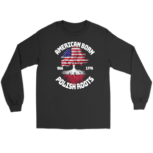 American Born With Polish Roots - Gildan Long Sleeve Tee / Black / S - Polish Shirt Store