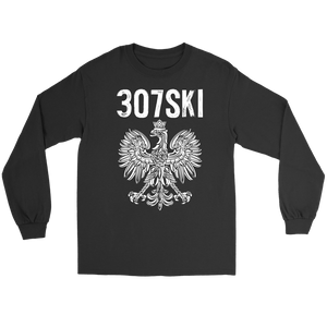 Wyoming - 307 Area Code - Polish Pride - Gildan Long Sleeve Tee / Black / S - Polish Shirt Store