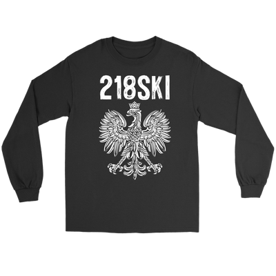 Minnesota - 218 Area Code - 218SKI - Gildan Long Sleeve Tee / Black / S - Polish Shirt Store