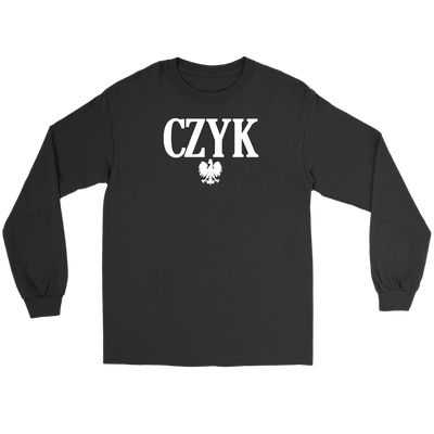 Polish Surnames ending in CZYK - Gildan Long Sleeve Tee / Black / S - Polish Shirt Store