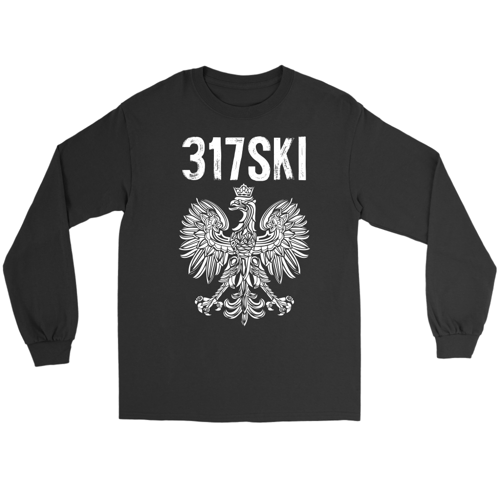 317SKI Indiana Polish Pride - Gildan Long Sleeve Tee / Black / S - Polish Shirt Store