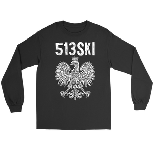 Cincinnati Ohio - 513 Area Code - Polish Pride - Gildan Long Sleeve Tee / Black / S - Polish Shirt Store