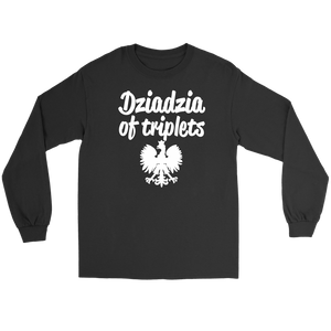 Dziadzia of Triplets Gift - Gildan Long Sleeve Tee / Black / S - Polish Shirt Store