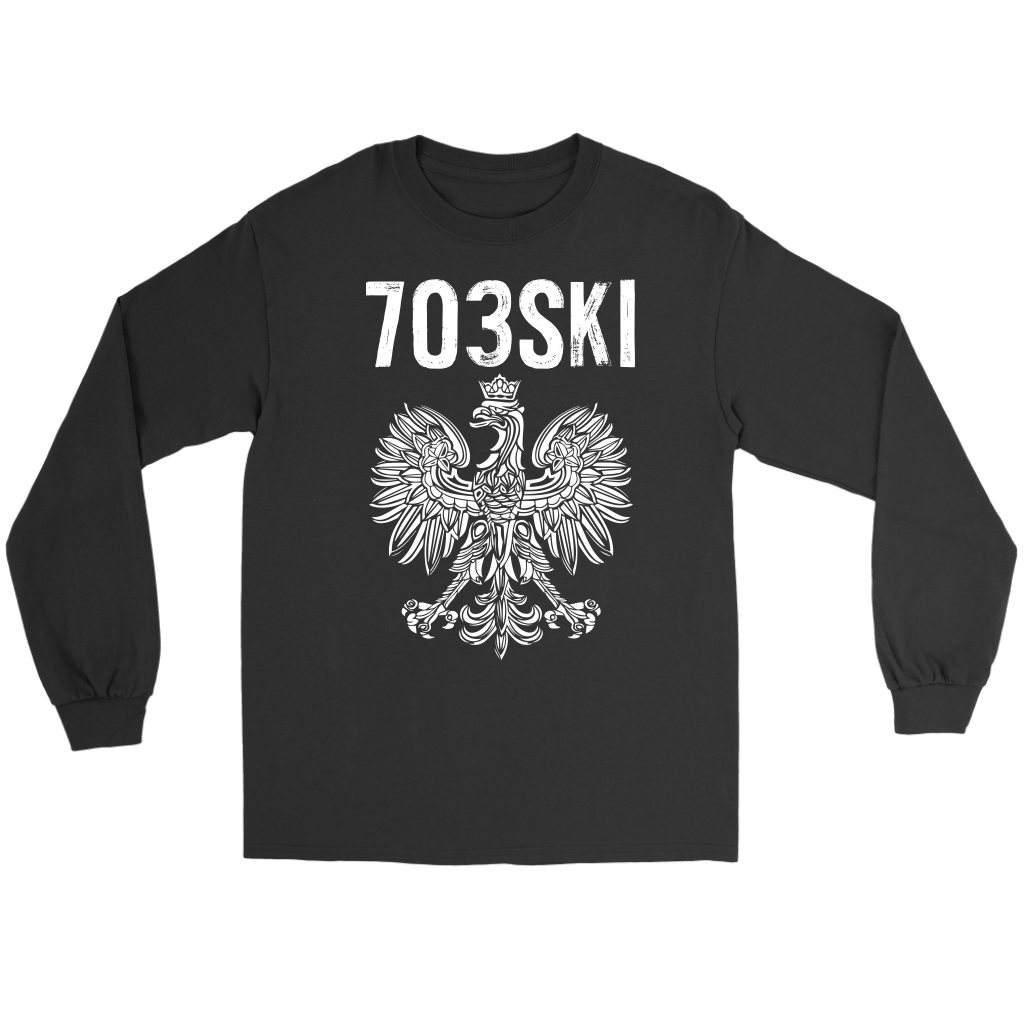 703SKI Virginia Polish Pride - Gildan Long Sleeve Tee / Black / S - Polish Shirt Store