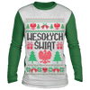 Wesolych Swiat Merry Christmas Sublimated Long Sleeve - White/Green / S - Polish Shirt Store