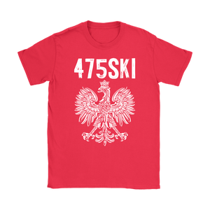 Bridgeport Connecticut - 475 Area Code - Polish Pride - Gildan Womens T-Shirt / Red / S - Polish Shirt Store