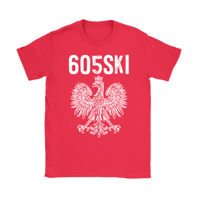 605SKI South Dakota Polish Pride - Gildan Womens T-Shirt / Red / S - Polish Shirt Store