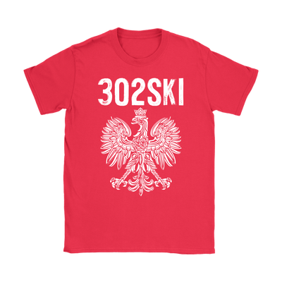 302SKI Delaware Polish Pride - Gildan Womens T-Shirt / Red / S - Polish Shirt Store