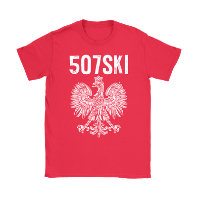 507SKI Minnesota Polish Pride - Gildan Womens T-Shirt / Red / S - Polish Shirt Store