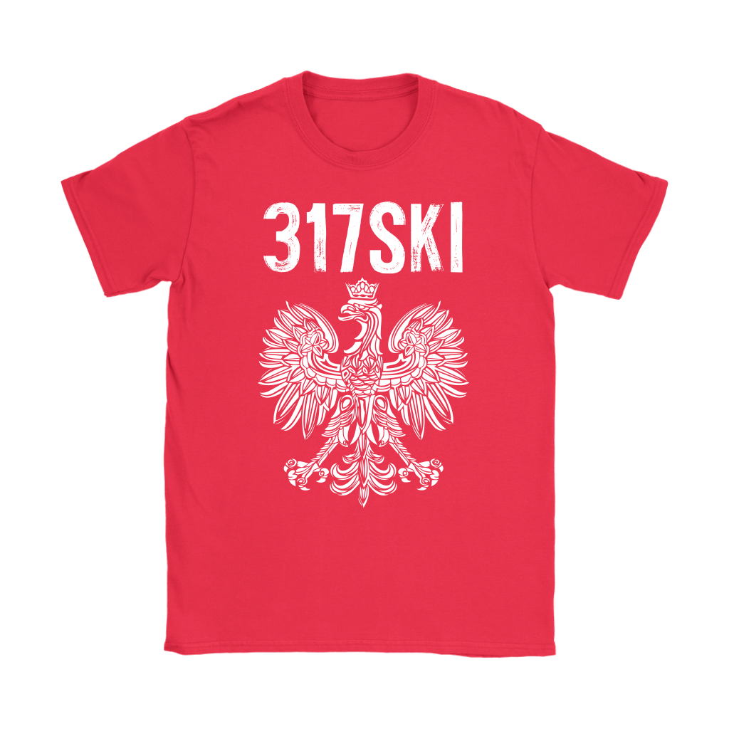 317SKI Indiana Polish Pride - Gildan Womens T-Shirt / Red / S - Polish Shirt Store