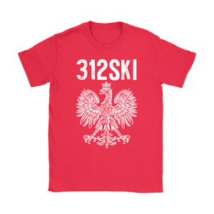 312SKI Illinois Polish Proud - Gildan Womens T-Shirt / Red / S - Polish Shirt Store