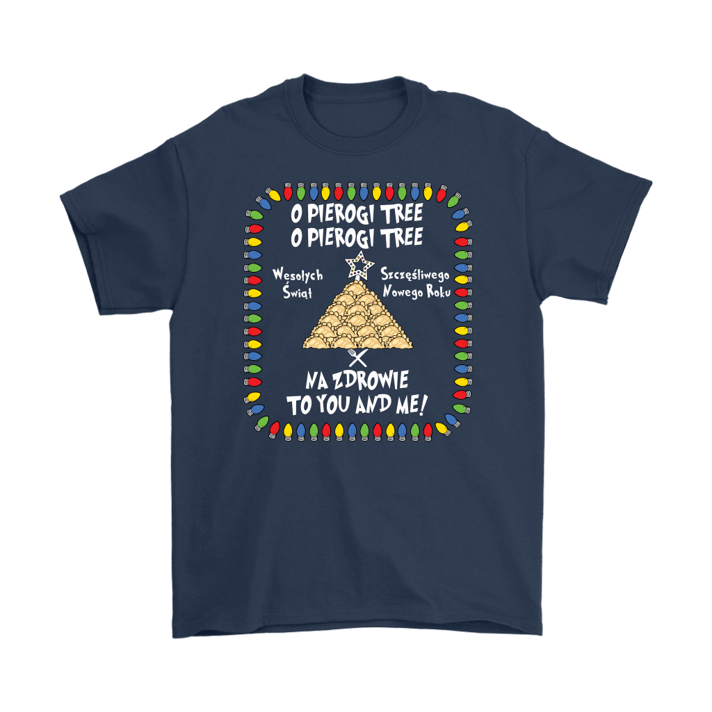 Na Zdrowie Funny Pierogi Tree Christmas Shirt - Gildan Mens T-Shirt / Navy / S - Polish Shirt Store