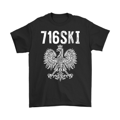 Buffalo NY - 716 Area Code - 716SKI - Gildan Mens T-Shirt / Black / S - Polish Shirt Store