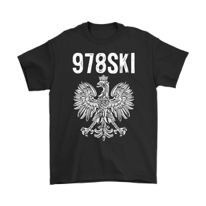 Lowell Massachusetts - 978 Area Code - Polish Pride - Gildan Mens T-Shirt / Black / S - Polish Shirt Store